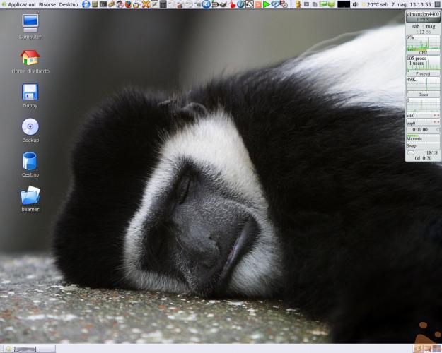 Desktop di GNOME con tema Nuvola