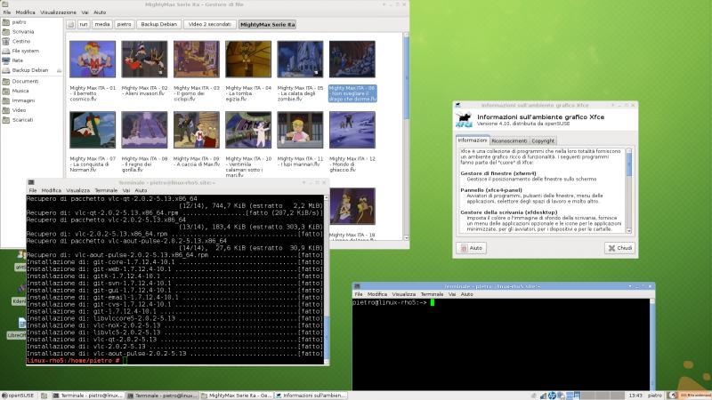 Ecco la mia Opensuse in azione con Tumbleweed con XFCE 4.10