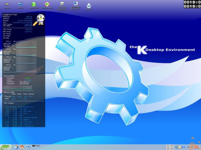 La mia SuSE 12.1 64 bit con KDE 3.5 e SuperKaramba